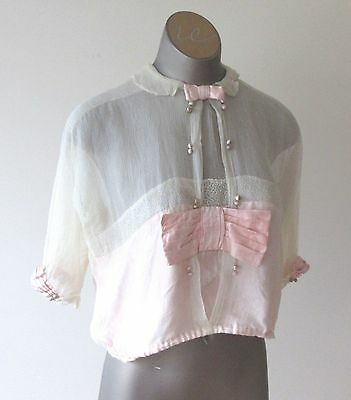 Antique Vintage 1930's Pink Silk and lace top Size 46