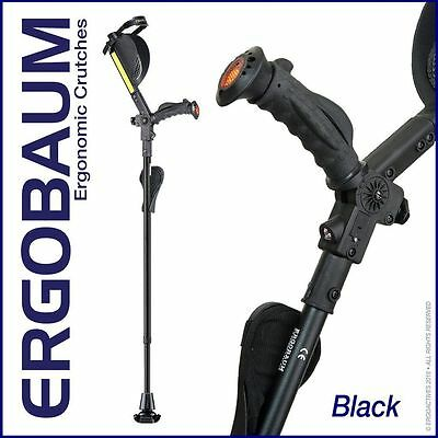 Ergobaum Ergonomic 7G Royal Adult Forearm Crutches - 1 Pair - Black