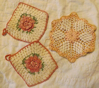 Lot of 3 Vintage Crocheted Potholders Hot Pads 3D Roses/Yellow White Sunflower