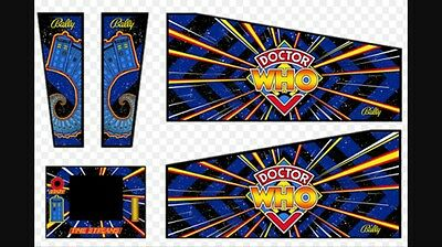 Bally Dr who Pinball 4 Piece Cabinet Decal Set With Digital Scanned Copies