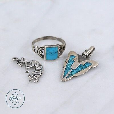 Sterling Silver | (QTY 3) Southwestern Charm Turquoise Ring (Size 8.25) 7g | Lot