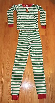 Hanna Andersson Red, Green & White Striped Christmas Pajamas Boys Girls Size 12