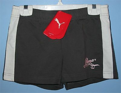 GIRLS Junior Size Large PUMA Girls Foundation Cotton Shorts Grey + White