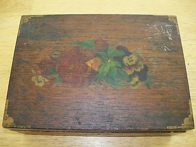 Antique Folk Art Painted Wood Sewing Box Painted