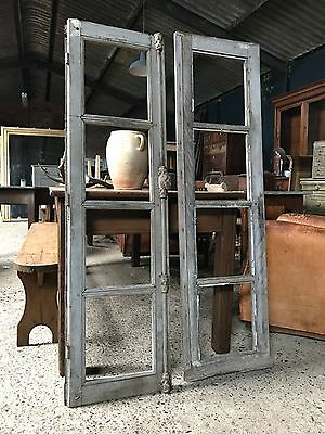 Pair Of Vintage Antique French Original Painted Window Frames