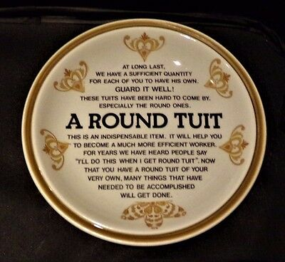 """a Round Tuit"" Novelty Dish By Babbacombe Pottery Devon"