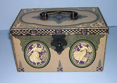 Antique Sewing Box / Biscuit Tin Art Nouveau / Deco Lithograph Dresser Box