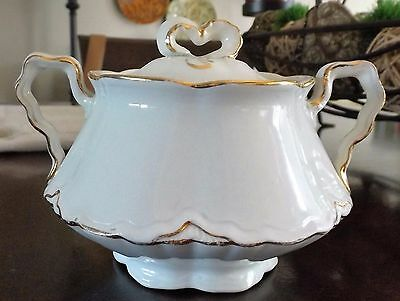 "WS George ""Radisson""  White and Gold Vintage Sugar Bowl"