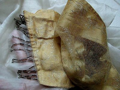 Antique Edwardian 1910 Silver Gilted Tulle Lace Dangle Glass Bead Silk Sash Trim