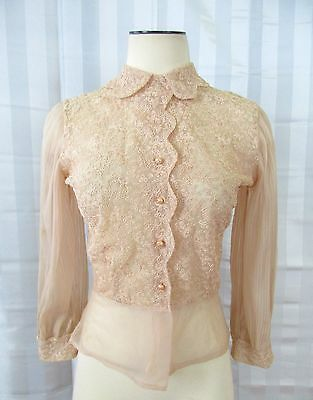 Vintage 1940s 1950s Blouse Semi Sheer Beige Shirt 36 Floral Embroidery Pleats