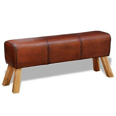 Luxury Real Leather Long Bench Stool Chair Seat Handmade Industrial Style Brown