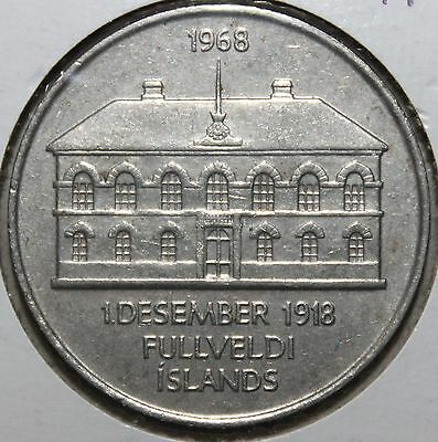RARE! Icelandic 50 Kronur Coin, 1968 KM# 16 Iceland 50th Sovereignty 100K Minted