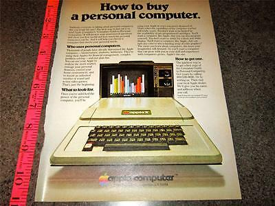 """1978 APPLE II COMPUTER  AD HOW TO BUY A PERSONAL COMPUTER VINTAGE 8""""x11"""" AD A11"""