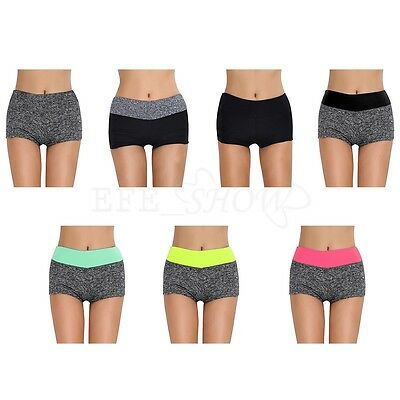Women Summer Tights Shorts Waistband Yoga Sports Pants Gym Workout Skinny Pocket