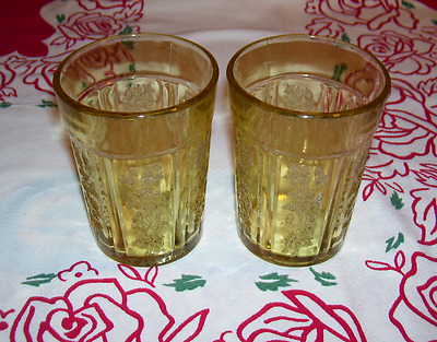 """2 Vintage Sharon Cabbage Rose Amber 4 1/8"""" Thick Tumblers Federal Glass"""