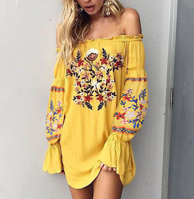 Vintage Bohemian Floral Embroidered OFF SHOULDER Bell Sleeve BOHO MINI Dress USA