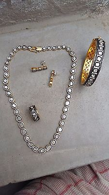 Stunning ! 18k Gold Rose Cut Diamond Polki Bangle & Necklace Ring n Earrings set