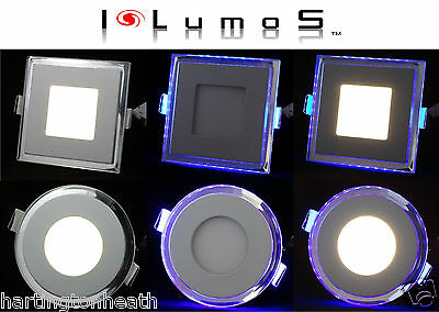 I LumoS GLASS PANEL LED RECESSED CEILING ROUND/SQUARE DOWNLIGHT WITH BLUE LIGHT