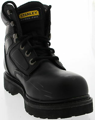 Men's STANLEY Black Leather Working Steel Toe Boots Size 7