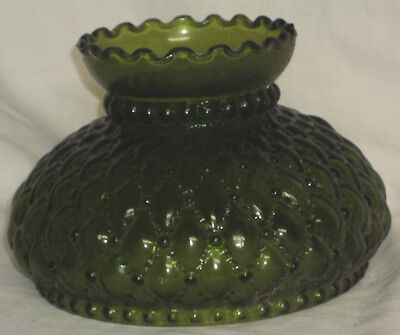 "NOS Solid Green Diamond Quilted Lamp Shade Aladdin, Rayo, Coleman 6"" Fitter"