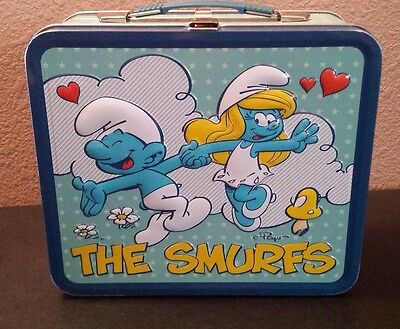 USED The Smurfs Lunch Box 2011 Vintage-Style With Latch 80's Cartoon