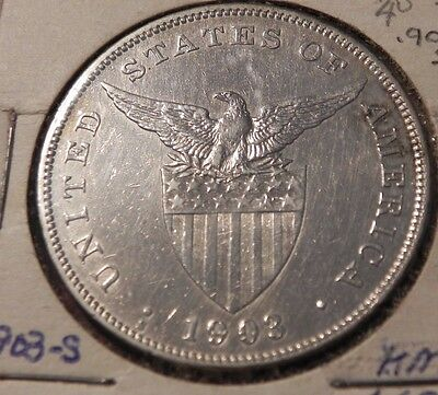1903-S Philippines Peso Nice High Grade San Francisco Mint 90% Silver Coin