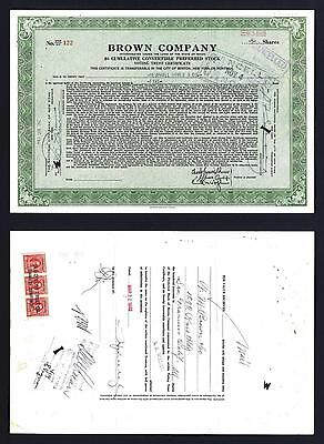 Brown Company 5 share Preferred stock with US revenues on back 1942 - Lot # 130