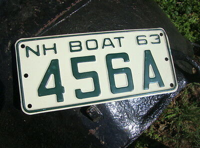 1963 New Hampshire # 456A, BOAT LICENSE Plate, Nice