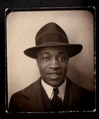 HANDSOME BUSINESSMAN BLACK MAN in COOL FEDORA HAT ~ 1930s PHOTOBOOTH PHOTO gay
