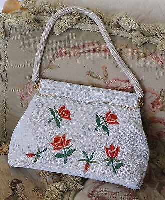 Vintage Micro Beaded Embroidered Red & Pink Roses Handbag Bag 1950s Retro
