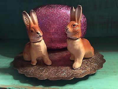 2 Vintage Paper Mache Rabbit Easter Candy Containers & 1 Big Pink Foil Egg!