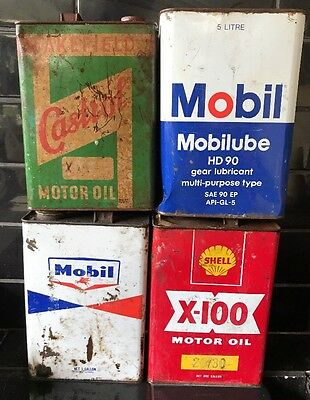 Set Of 4 X 1 Gallon Vintage Collectable Oil Tins  Castrol Mobil Shell X-100