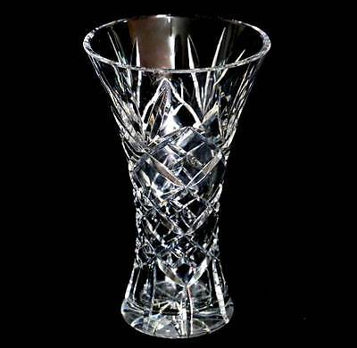 Vintage huge sparkly heavy cut crystal tall vase in beautiful condition