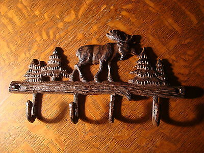 CAST IRON MOOSE WITH PINE TREES 4 CABIN BATHROOM KITCHEN TOWEL HOOK RACK Decor