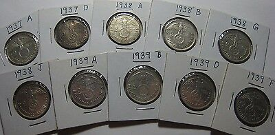 Lot of 10 Different Germany 3rd Reich 2 Mark Silver Coins * FREE U.S. SHIPPING*