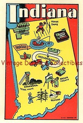 Vintage Indiana State Donmar 1951 Souvenir Luggage Travel Decal Indianapolis Car