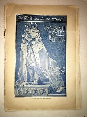 VINTAGE MONARCH THE KING  BICYCLE paper TIGER ADVERTISEMENT 1897