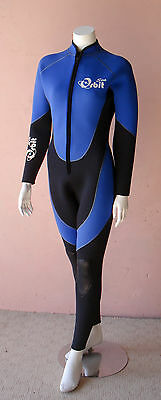 Full Length 5mm Scuba Diving Wetsuit for Women Front Zip, Glued Seams, Size: 8