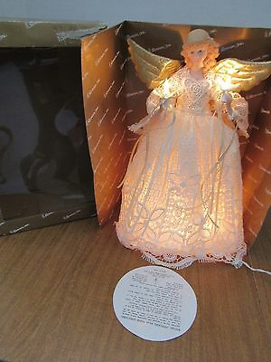 "Roman Inc. 14"" Porcelain Blonde Angel Lighted Tree Topper /Mantle Lace Dress"