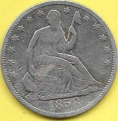1858 50c silver liberty seated half dollar coin
