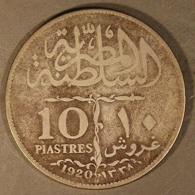 1920H Egypt Silver 10 Paistres Sultan Fouad        ** FREE U.S SHIPPING **