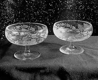 Etched Crystal Sherbets, Garland & Nosegay Pattern, Pair