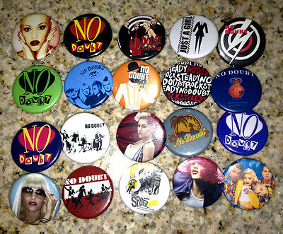 Set of 20 No Doubt collectible pins/buttons/badges gwen stefani looking hot