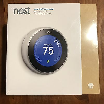 New Nest Learning Thermostat 3rd Generation WiFi T3007ES - Stainless Steel