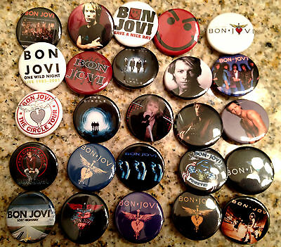 Set of 25 Bon Jovi collectible pins/buttons/badges have a nice day alt rock band