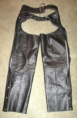Mens Black Leather Motorcycle Chaps With Braided Leather Trim Sz L