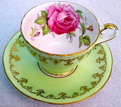 Aynsley Fancy Humongous Pink Rose Light Green Cup & Saucer  1930s