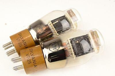 PAIR OF SYLVANIA VT-25 10Y 10-Y TUBES BLACK PLATE - MATCHED TESTED NOS lot #2