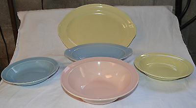 """Vintage LuRay Pastel 13"""" Plater - Oval & Round Serving Bowls and 2 Soup Bowls"""