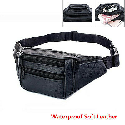 Waterproof Soft Leather Bum Waist Bag Pouch Wallet Pack Travel Men's Money Belt